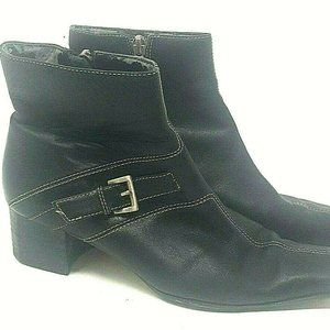 Anne Klein Ankle Bootie Black Leather Top Stitched
